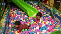 Funny babies,happy babies playing with bubbles in Fun Indoor Playground for Kids