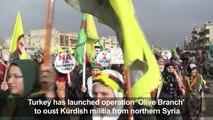 Syrian Kurds demonstrate against Turkey's offensive