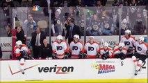 Line brawl fight. Philadelphia Flyers vs Pittsburgh Penguins 1 April 2012. NHL Hockey