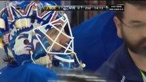 Zdeno Chara breaks Henrik Lundqvist's mask. May 23 2013 Boston Bruins vs NY Rangers NHL Hockey.