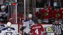 Roman Polak vs Victor Stalberg fight April 4 2013 St. Louis Blues vs Chicago Blackhawks NHL Hockey