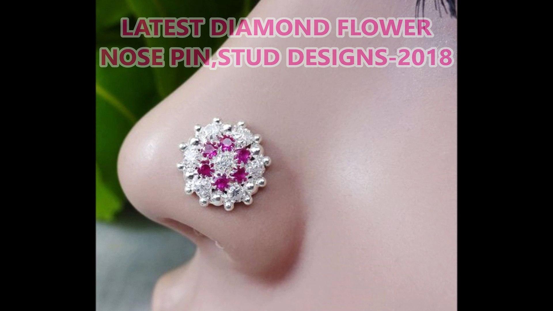 Latest Diamond Flower Nose Pin Stud Designs 2018 Nose Ring Nose