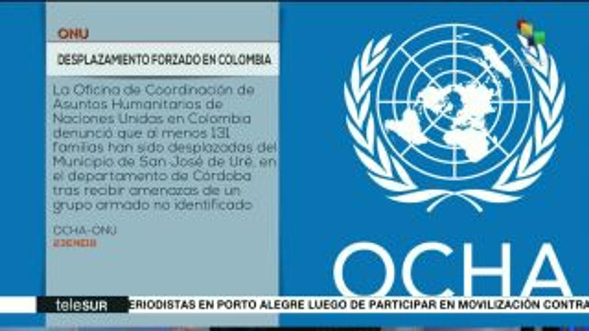 Colombia: ONU denuncia desplazamiento de 425 personas en Córdoba