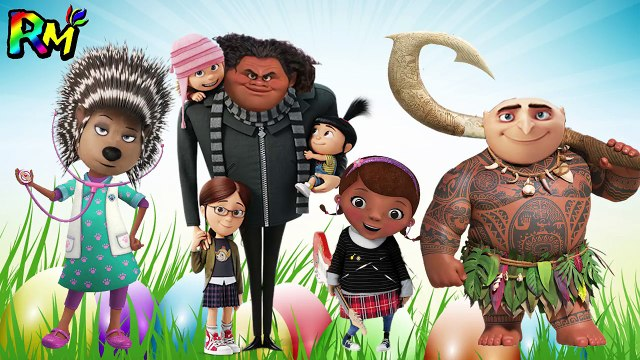 Wrong Heads Despicable Me Gru Sing Ash Moana Maui Doc McStuffins Finger family for kids fun-on2x_MQeeOg