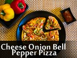 How To Prepare Cheese Onion Bell Pepper Pizza | Cheese Onion Bell Pepper Pizza Recipe | Boldsky
