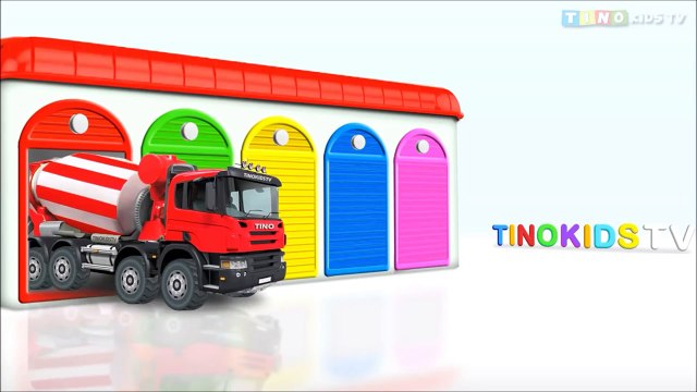 Learn Colors with Cement Trucks for Kids & Color Garage : Videos for Children