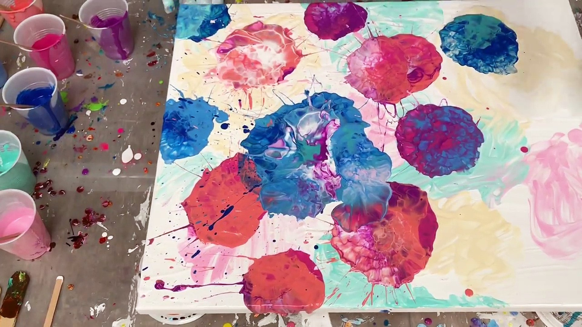 Acrylic Pour Painting Create Flowers With Blown Puddles Using Americana Paint Video Dailymotion