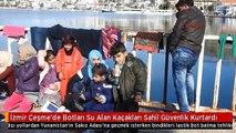 İzmir Çeşme'de Botları Su Alan Kaçakları Sahil Güvenlik Kurtardı