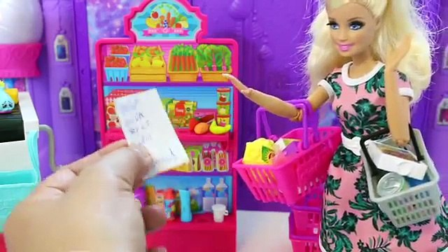 Barbie Shopping Barbie Doll Grocery Store Supermarket Barbie Pink Car Fun Toys for kidsباربى تتسوق