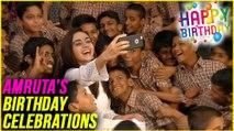 Amruta Khanvilkar's Birthday 2017   Celebrating Her Birthday With Deaf & Dumb Childrens