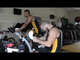 James Haskell and Alapati Leiua in Wasps Rugby Matrix gym