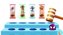 Talking Tom and Friends Angela, Hank Ben, Ginger In a Hamburger Cartoons Finger Family Song Colors L