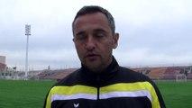 L'entraîneur du FC Martigues Jean-Luc Vannuchi avant le déplacement au Pontet