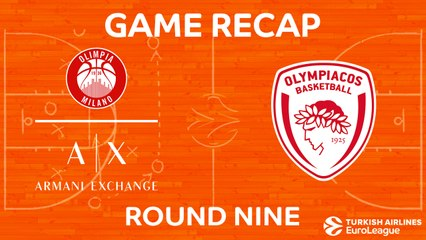 EuroLeague 2017-18 Highlights Regular Season Round 9 video: AX Milan 85-86 Olympiacos
