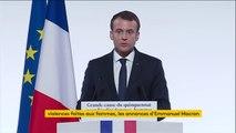 """Violences faites aux femmes : Emmanuel Macron observe une minute de silence en hommage aux 123 femmes """"battues, violées et tuées"""" en 2016"""