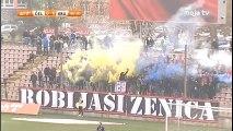 NK Čelik - FK Krupa   Plavo-žuta dimna zavjesa