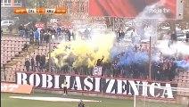 NK Čelik - FK Krupa - Plavo-žuta dimna zavjesa