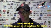 Hockey sur glace 2017-11-25 D2 Interview Téo Sarliève - Attaquant Sangliers Arvernes de Clermont-Ferrand