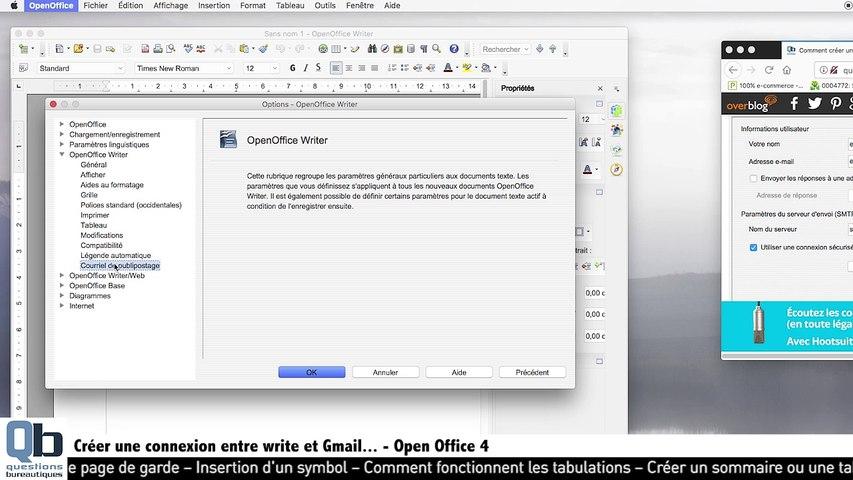 Créer un emailing avec write sous openoffice : partie 1 - les paramètres de connexion
