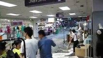 Inondations dans le centre commercial Ginza de Jinan (Chine)
