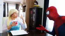 Spiderman & Frozen Elsa vs Maleficent! Elsa Drinks a Poisoned Tea! Superhero Fun in Real Life  -) | Superheroes | Spiderman | Superman | Frozen Elsa | Joker