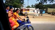 Aunties Bike Ride wearing Saree ,  Yamaha R15 promo ,  Bike Ride by Andhra Aunties ,  Bike Ride on Saree ,  Kiranam Aunties