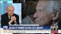 """""""C'est tout un pan de la littérature française qui disparaît."""" L'hommage de Frédéric Mitterrand à Jean d'Ormesson"""