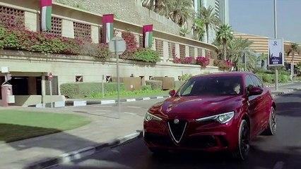 Alfa Romeo Stelvio Quadrifoglio test drive a Dubai. Uno stile unico che nasce dalla ricerca delle prestazioni