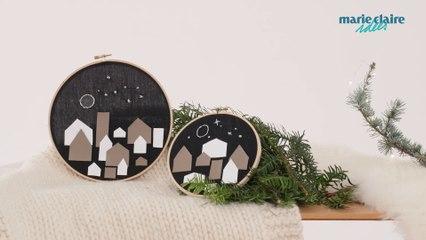 Une décoration de Noël récup avec un tambour à broder