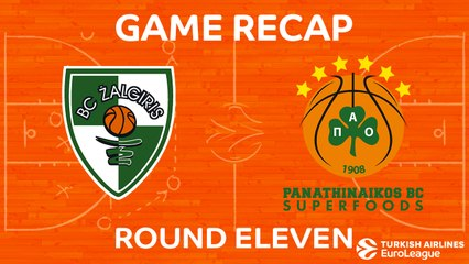 EuroLeague 2017-18 Highlights Regular Season Round 11 video: Zalgiris 80-74 Panathinaikos