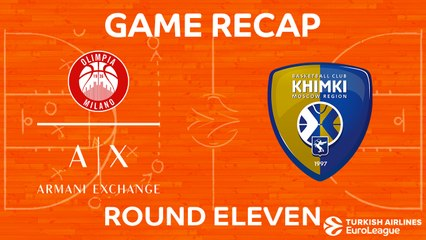EuroLeague 2017-18 Highlights Regular Season Round 11 video: AX Milan 71-77 Khimki