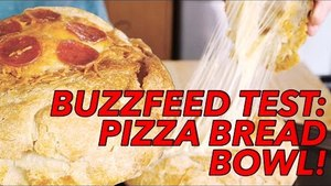 Buzzfeed Recipes Test: Cheesy Pepperoni Pizza Bread Bowl Recipe- Joe Cooks | Food Porn