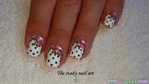 POLKA DOT NAIL ART #3 - White Based Rose Nails Using TOOTHPICK-8XsQUblSVQc
