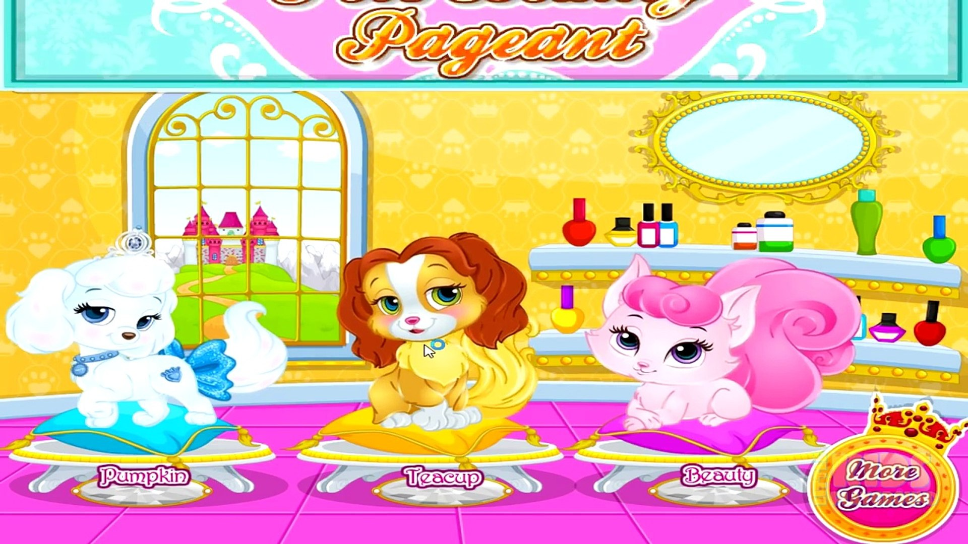 Princesses Cinderella Aurora and Belle Pets Beauty Pageant - Baby Barbie Game for Kids-PzI31CJwVlk