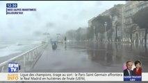 À Nice, la promenade des Anglais fermée aux piétons à cause de fortes vagues
