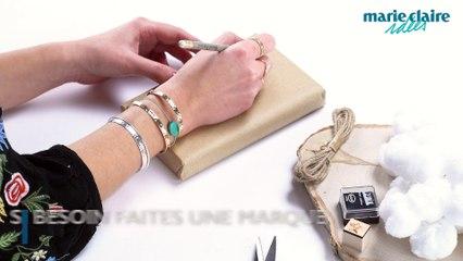 Customiser un paquet cadeau avec des tampons