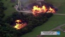 Une Tornade de feu se forme pendant l'incendie d'une usine de Whisky)