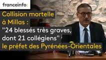 """Collision entre un bus scolaire et un train à #Millas """"Il y a 24 blessés très graves, dont 21 sont des collégiens et trois autres personnes qui étaient dans le TER"""", le préfet des Pyrénées-Orientales"""