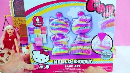 Rainbow Sand Art Craft Kit with Hello Kitty Barbie Doll - Toy Video Cookie Swirl C-mXepnctc0wA