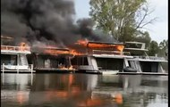 Moored Houseboats Destroyed by Fire at Moama