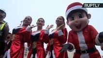 Dozens of Peruvian Police Ride Through Lima on Motorcycles Dressed As Santa