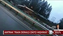 Un train déraille dans l'État de Washington - Des wagons pendent au-dessus d'une autoroute