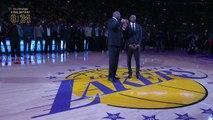 Cérémonie de retrait des maillots de Kobe Bryant Numéro 8 et 24 aux Los Angeles Lakers