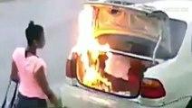 Elle pense mettre le feu à la voiture de son ex... mais elle va se planter de voiture! Oups