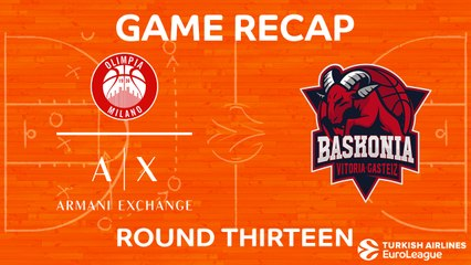 EuroLeague 2017-18 Highlights Regular Season Round 13 video: AX Milan 92-85 Baskonia