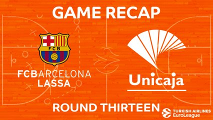 EuroLeague 2017-18 Highlights Regular Season Round 13 video: Barcelona 83-90 Unicaja
