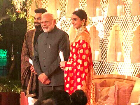 PM Modi attends Virat Anushka wedding reception showers blessings on newlyweds