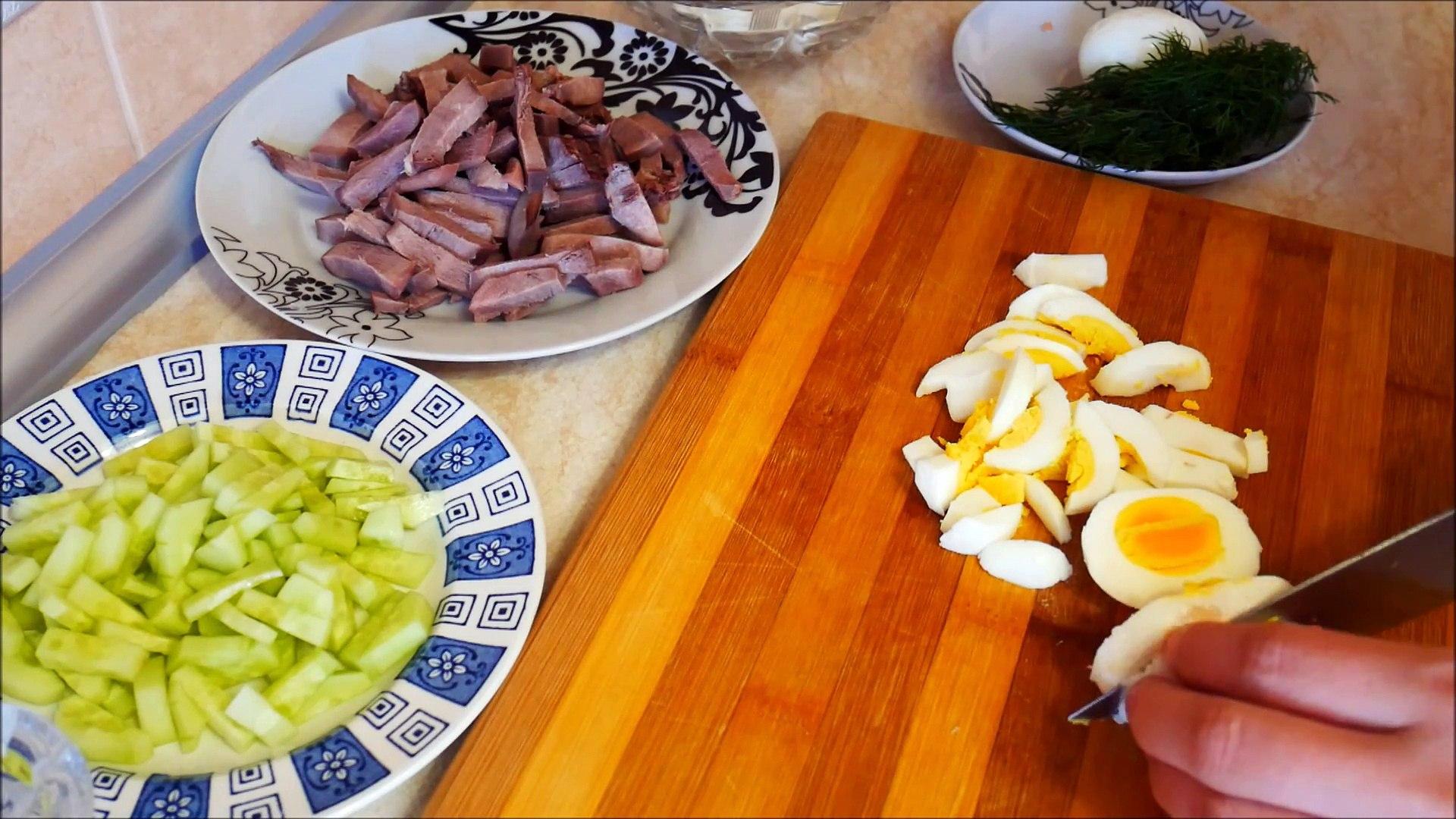 Салат РЕЦЕПТ салат с ЯЗЫКОМ и свежим ОГУРЦОМ Салаты на праздничный стол Салаты рецепты-gZkDM426eNg