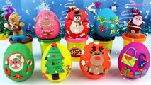 CHRISTMAS Surprise Eggs Play Doh - Learn Colors w_ Holiday Toy Surprises Santa Snowman , Cartoons animated movies 2018