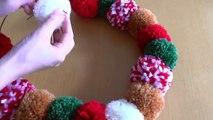 毛糸ポンポンでクリスマスリースの作り方☆-SvU0JShttC0